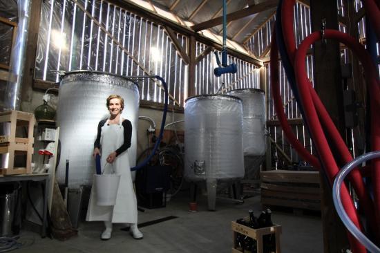 Anne devant les cuves de fermentation