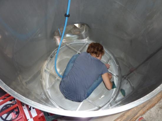 Anne en train de nettoyer la cuve matière (11h)